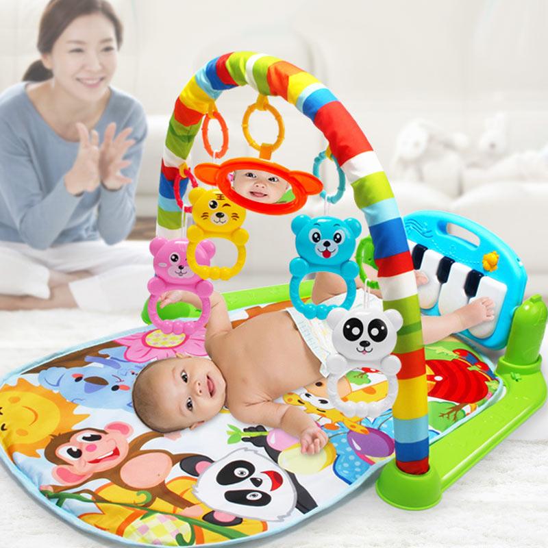Kids Children Fitness Rack Baby Toys Piano Music Blanket Play Plastic Intellectual Development M09 цена