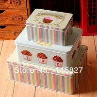 Free Shipping new design 3pcs/set big size metal tin case sweety candy can cookie box Multi Use Storage container home storage
