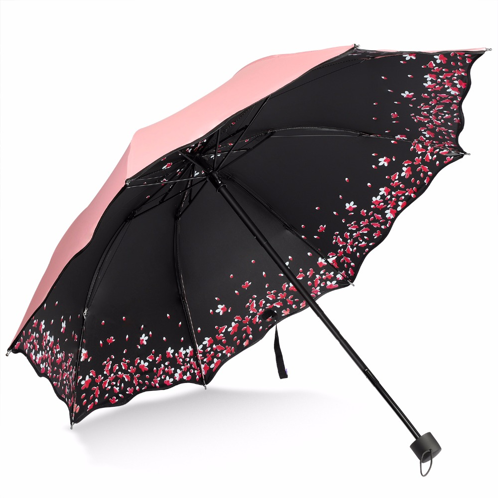 Sakura Umbrella Windproof Anti UV Rain/Sun Umbrella Cherry Blossom Folding Umbrella