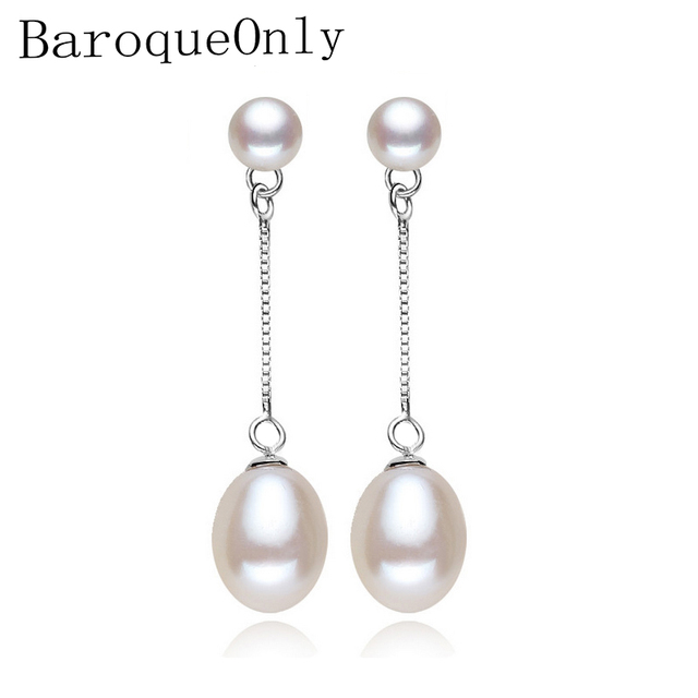 2018 new 100% genuine Natural long earrings fashion jewelry for Women 925 sterling silver pearl Jewelry double earrings gifts
