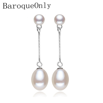 ddcad1e2a2f1 2018 nuevo 100% genuino Natural pendientes de joyería de moda para las  mujeres de perlas de Plata de Ley 925 joyería doble pendientes