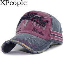 XPeople Vintage Style Printing Multicolor Adjustable Baseball Cap Washed Denim Cotton Sports for Women and Men