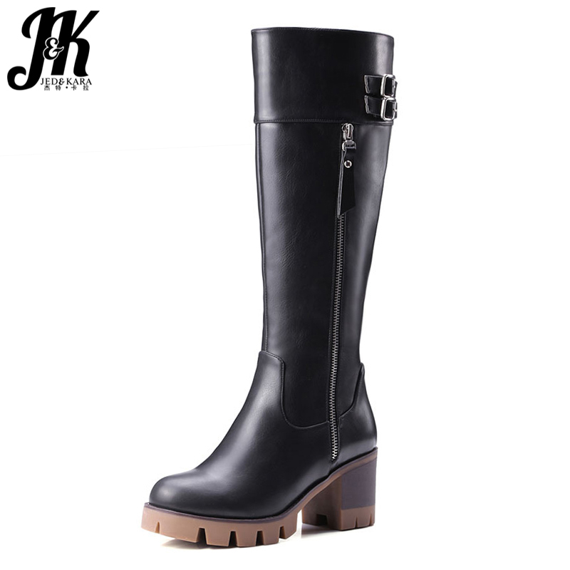 Size 34-42 High Quality Women Knee Boots Add Fur Buckle Charm Thick Heels Fashion Winter Boots Platform Skid Proof Shoes Woman high quality lace up nubuck short boots women thick high heels platform shoes woman with fur skid proof fall winter suede boots