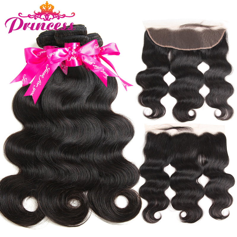 Beautiful Princess Hair 13x4 Lace Frontal Closure With Bundles Remy Brazilian Body Wave Human Hair Bundles With Frontal Closure(China)