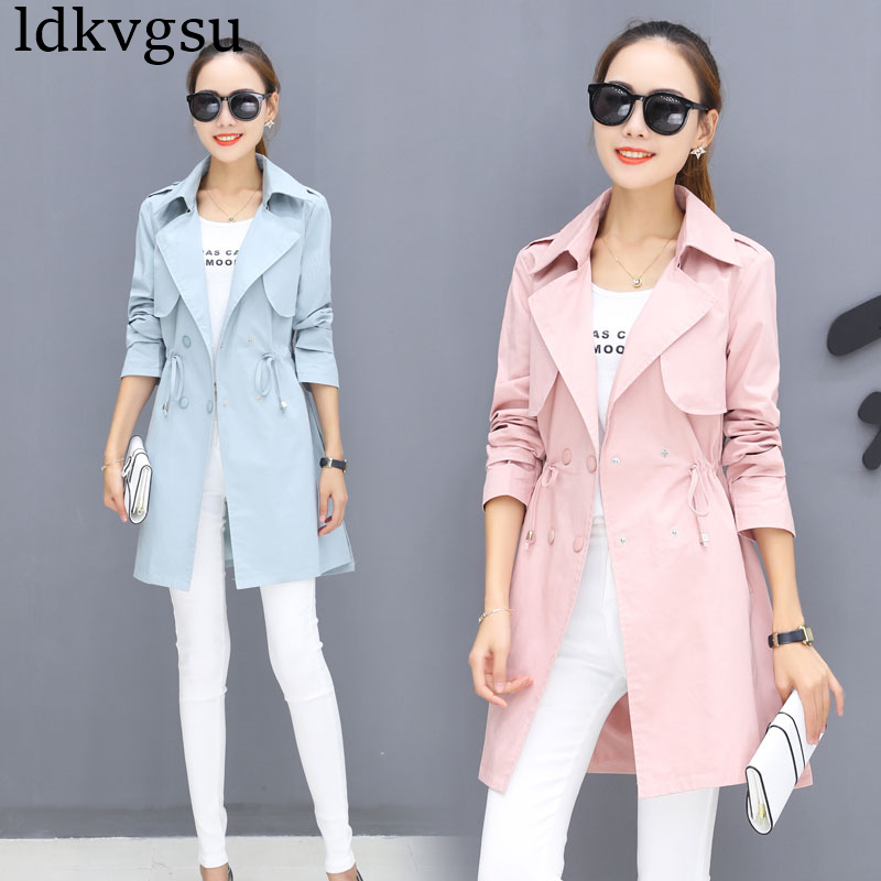 Fashion Double-breasted Cardigan Windbreaker 2019 Spring Autumn New Korean Tie Waist Slim Long   Trench   Coats For Women A474