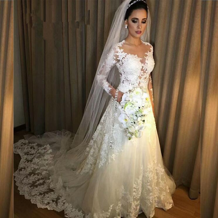 Vestidos De Noiva A Line Lace Wedding Dress 2019 See Through Back Sexy Long Sleeves Wedding Dresses Robe De Mariage Bridal Gowns