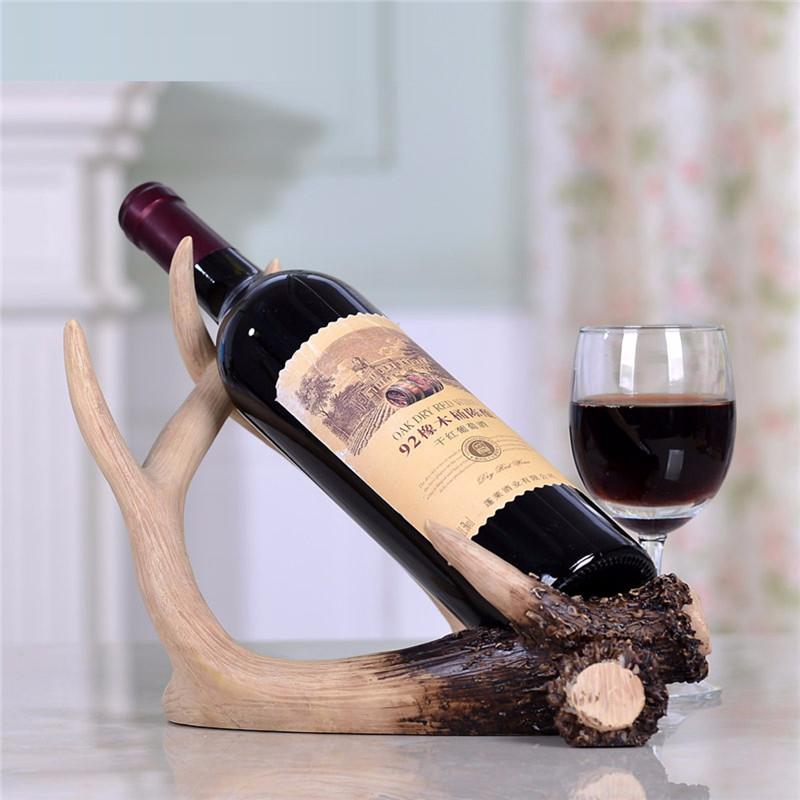 Resin Deer Antlers Red Wine Bottle Holder Table Rack Ornament Home Bar Decor Sculpture