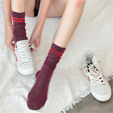 Glitter Casual Striped Girls Socks