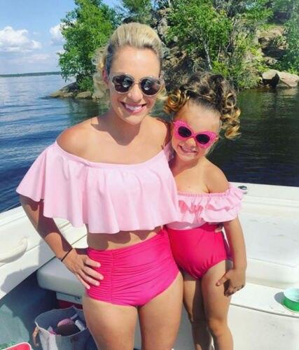 Family Mom Girl Matching Swimsuits Women Little Girl Swimsuit Swimwear Beachwear Ruffle Bikini Set Summer Clothing
