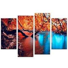 4 Pcs/Set Modern City maple leaf drawing Decoration Canvas  painting wall picture home decor