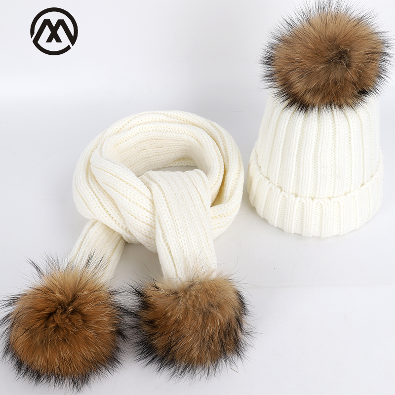 Warm Adult Children's Knitted Cotton Hats Scarf Two-piece Parent-child Models Natural Raccoon Fur Pompom Thick Collar Beanies