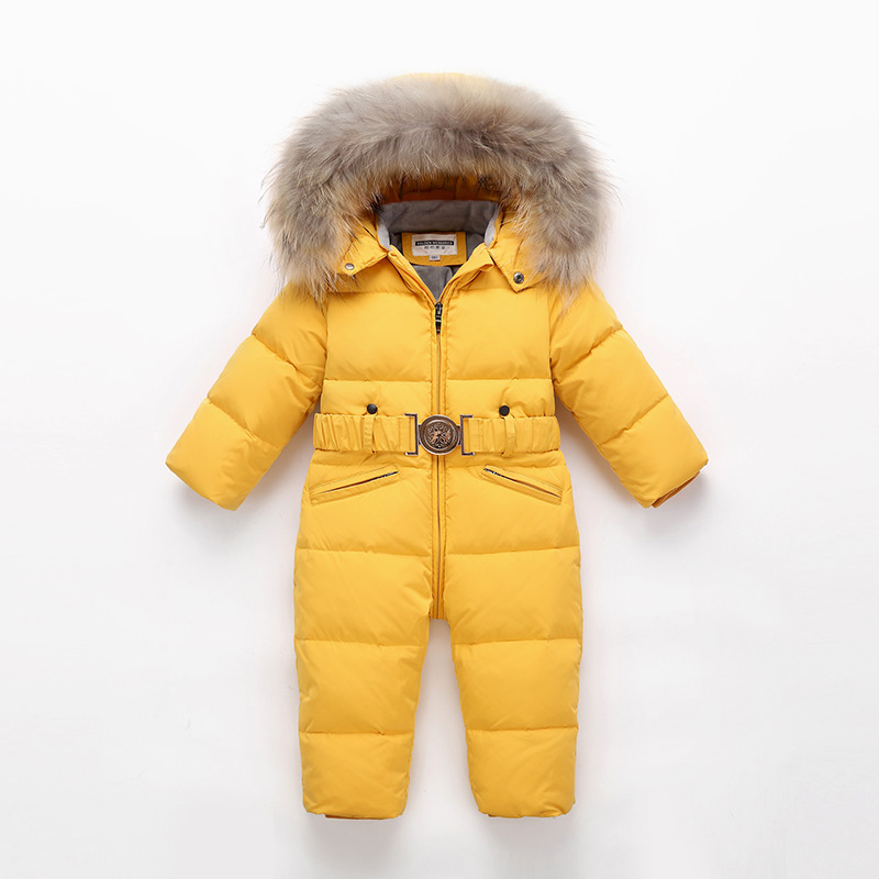 Children Winter Jumpsuit Kids Baby Snowsuit Nature Fur 90% Duck Down Jacket for Girls Coats Toddler Winter Park for Boy Overalls|Down & Parkas| |  -