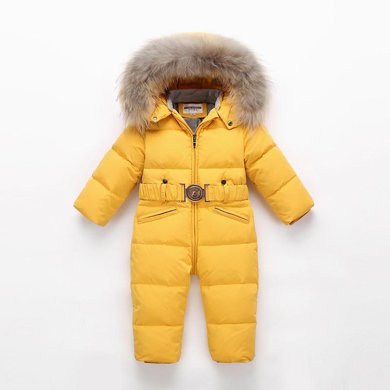 Enfants hiver combinaison enfants bébé Snowsuit Nature fourrure 90% canard doudoune pour filles manteaux bambin hiver parc pour garçon salopette