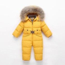 Kinder Winter Overall Kinder Baby Schneeanzug Natur Pelz 90% Ente Unten Jacke für Mädchen Mäntel Kleinkind Winter Park für Junge overalls
