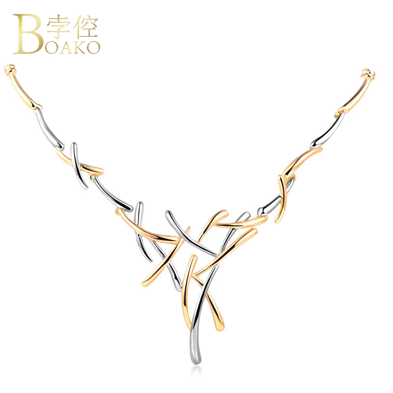 BOAKO Hot Sale Silver/Gold Color Metallic Choker Statement Necklace For Women Punk Style Female Necklace Party Jewelry bijoux Z2