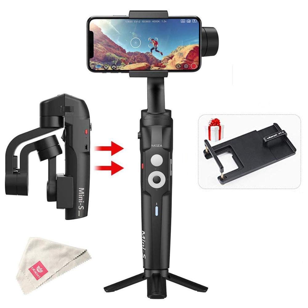 RU Estoque Moza Mini S Dobrável Vlog 3-Eixo Cardan Estabilizador para o iphone X 8p Huawei P30 Pro goPro 7/6/5