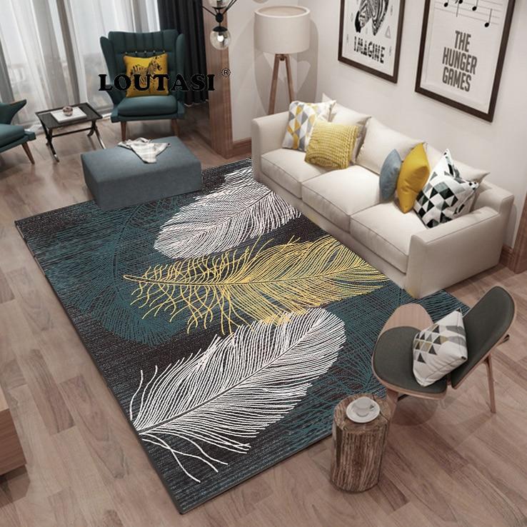 LOUTAI Modern Super Soft Velvet Feather Carpet Pad Bedside Blanket Doormat Outdoor Prayer Parlor Home Floor Mat Anti-slip Rugs