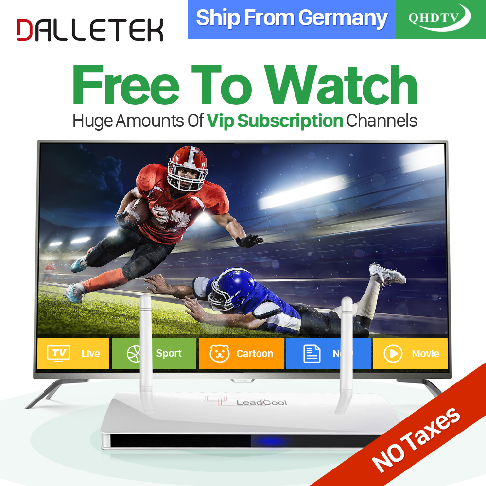 Dalletektv Arabic IPTV Box Leadcool Smart Android TV Box 1 Year QHDTV IPTV Subscription 1300 Channels Europe French UK IPTV Box leadcool android tv box with iptv subscription 1 year iudtv 2000 iptv channels europe french arabic albania spain sweden iptv