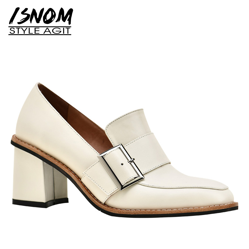 ISNOM Cow Leather Pumps Women Square Toe Footwear Thick Heels Office Shoes Female Fashion Buckle Shoes
