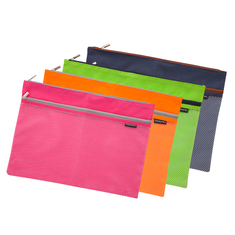 School Stationery Document Bag Super Cute 2 Layer Grid Stationery  Storage Bag Pencil Case Office Supplies File Folder