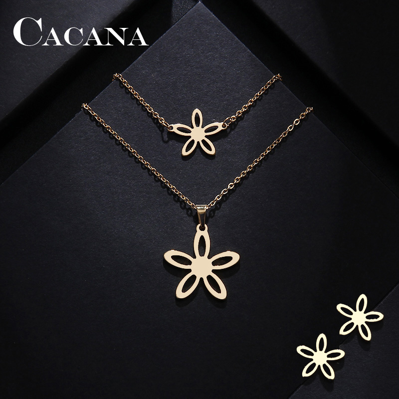 CACANA Stainless Steel Sets For Women Flower Shape Necklace Bracelet Earring Jewelry Lover's Engagement Jewelry S277