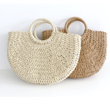 Women Pompon Beach Weaving 2019 New Summer Handmade Bags Ladies Straw Bag Moon shaped Wrapped  handbag