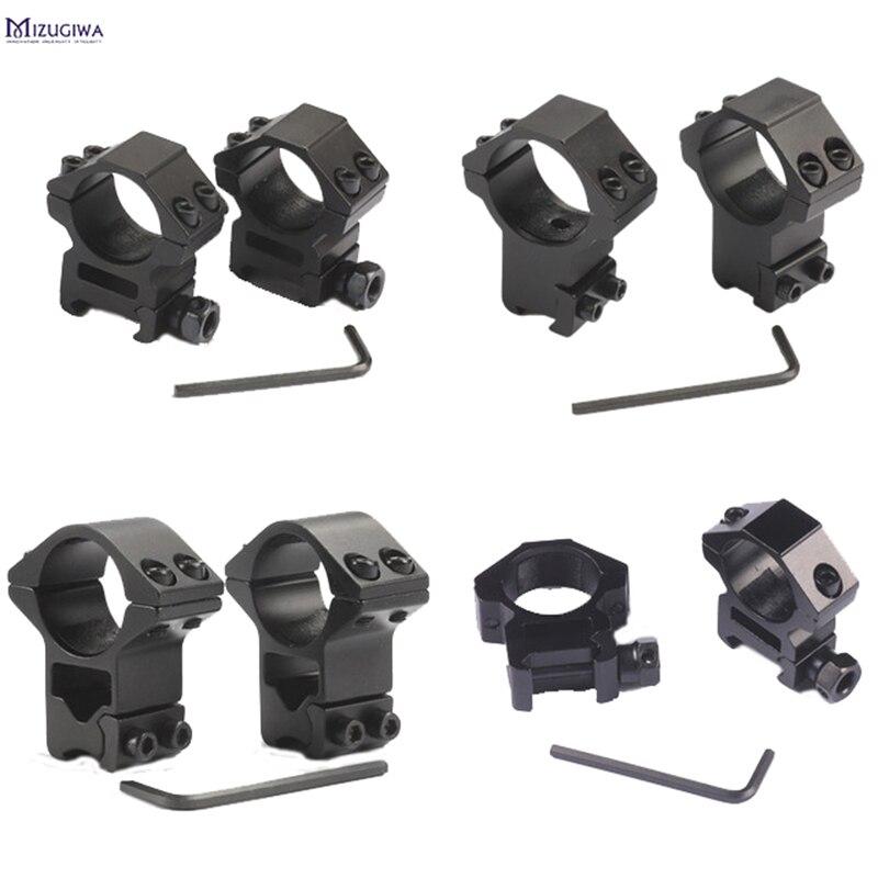 2 pces 25.4mm/30mm caça riflescope montar anel 11mm cauda de andorinha/20mm picatinny ferroviário alta ou baixa pistola de ar rifle scope montagens