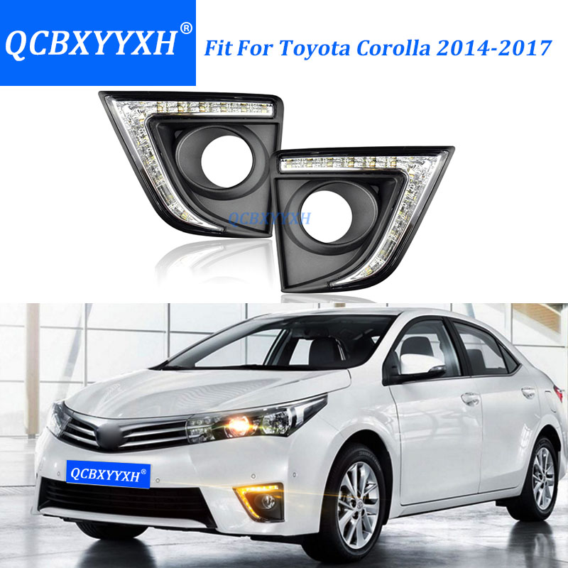 QCBXYYXH Car-styling Turn signal Light Daylight for Toyota Corolla 2014-2018 DRL LED Daytime Running Light With Fog Lamp Hole car styling tail lights for toyota highlander 2015 led tail lamp rear trunk lamp cover drl signal brake reverse