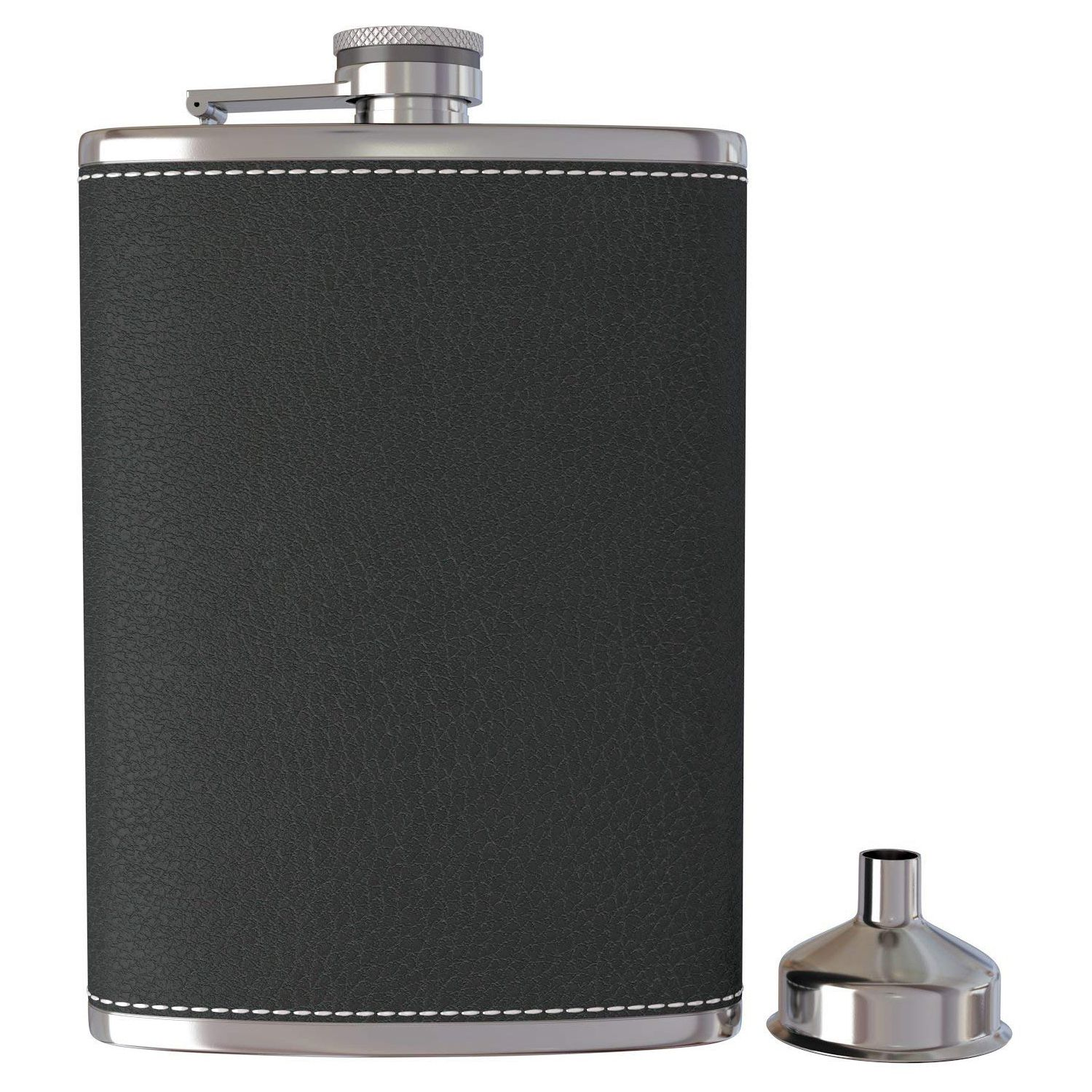 Pocket Hip Flask 8 Oz with Funnel Stainless Steel with Black Leather Wrapped Cover and Leak Proof - Fits any Suit for Discrete