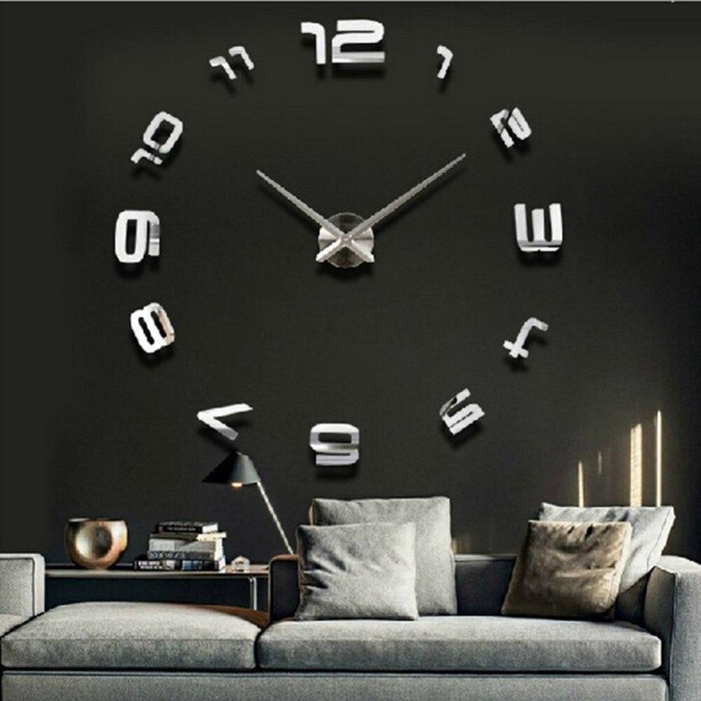 Modern Fashion Large Digital Wall Clock Diy 3d Mirror Surface