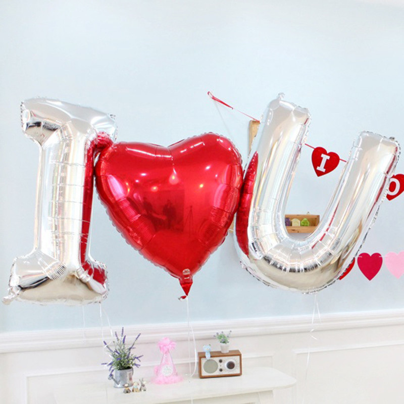3pcs/lot I U Red Large Heart Foil Balloons Wedding Decoration Balloons Air Balloon Inflatable Mariage Balloon Party Supplies