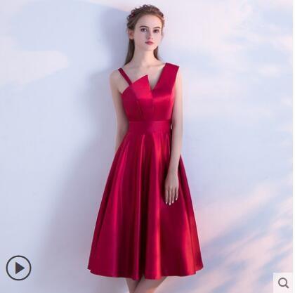 Robe rouge S clair Élégant Nouvelle Étudiant Élégance Noir noir Long 2018 D'hiver Moyen Banquet Beige zqxFaF