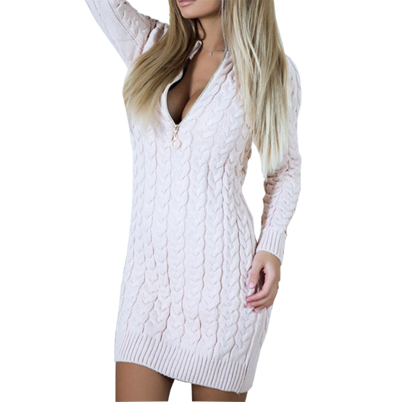 2017 Autumn Winter Sweater Dress Sexy V Neck Zipper Knit Dresses Warm Bodycon Mini Vestidos Fashion Zip-up Women Dress New GV101