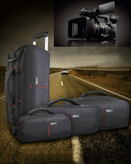 b05a3e694996 Новая функциональная камера сумка камера Чехол видео сумка для Nikon sony  Panasonic Leica Samsung Canon тележка