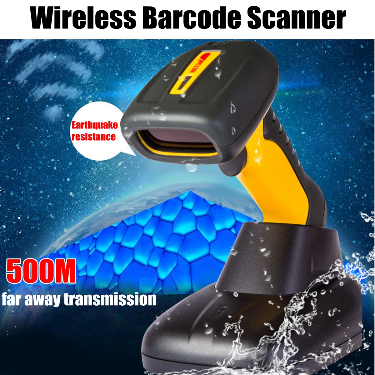NT-1209 Handheld Wireless Barcode Scanner Industrial IP67 Waterproof 32bit Bar Code Scanner for POS System цена 2017