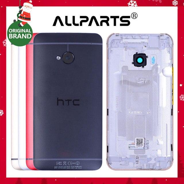 Одноместный SIM оригинальный Корпус для HTC один M7 задняя крышка Батарея дверь Объективы для фотоаппаратов Замена Красный цвета: золотистый, серебристый 801e 801N 801 S