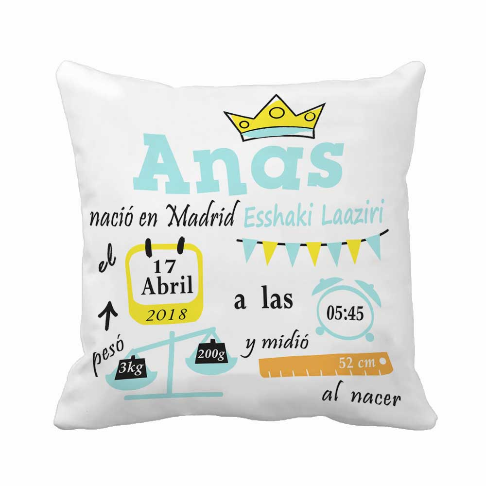 Customized With Birthday Baby Boy Cushion Birth Data Crown Pattern Pillow Decorative Cushion Cover Pillow Case Customize Gift wallet
