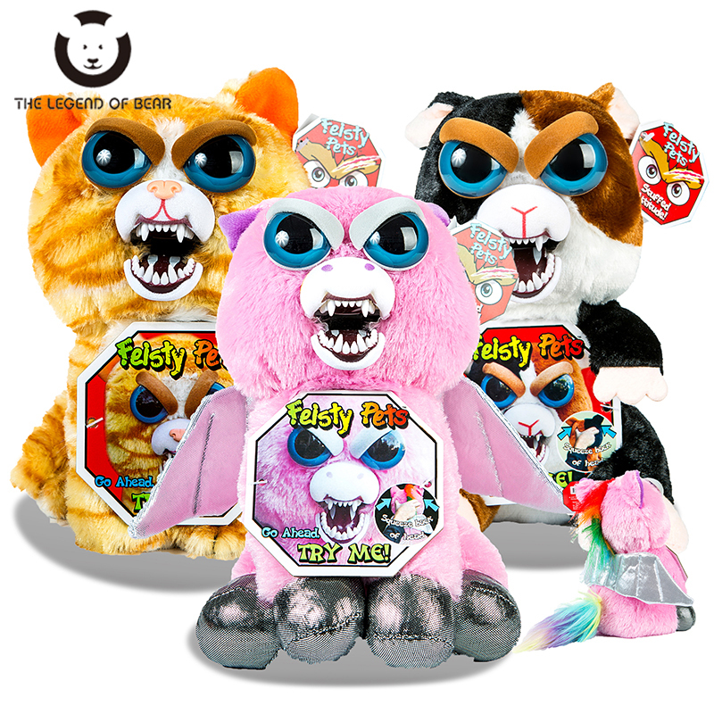 2018 Hot Sale Feisty Pets Christmas Gift Change Face Roar Stuffed Animal Doll Plush Toys For Children Cute Funny Expression Toys