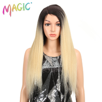 MAGIC Hair 28Inch Lace Front Wig Long Yaki Straight Blonde Ombre Synthetic Wigs For Black Or White Women Cosplay Or Party Wigs