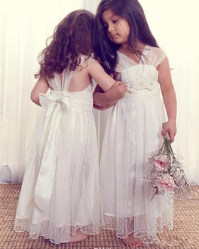 Simple Design Cheap Price Tulle Flower Girl Dress with 3D Floral Appliques Beading V-Neck Ankle-Length Kids Formal Wears Longo