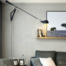 Nordic Simlpe Black White Wall Lamp With Plug Swing Long Arm Living Room Wall Lights LED Bedroom Reading Light Adjustable Lustre retro two swing arm wall lamp for bedroom bedside adjustable wall mount swing arm lamp