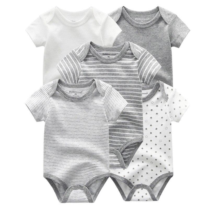 5 PCS/lot Newborn Baby Bodysuits Unisex Short Sleevele Baby Jumpsuit O-neck 0-12M Cotton Roupa De Bebe  Baby Clothes Sets
