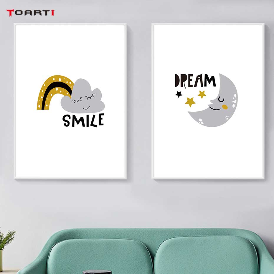 Image 2 - Cartoons Children Prints Posters Rainbow Moon Clouds Canvas Painting On The Wall Sun Art Picture For Baby Kids Bedroom Home Deco-in Painting & Calligraphy from Home & Garden