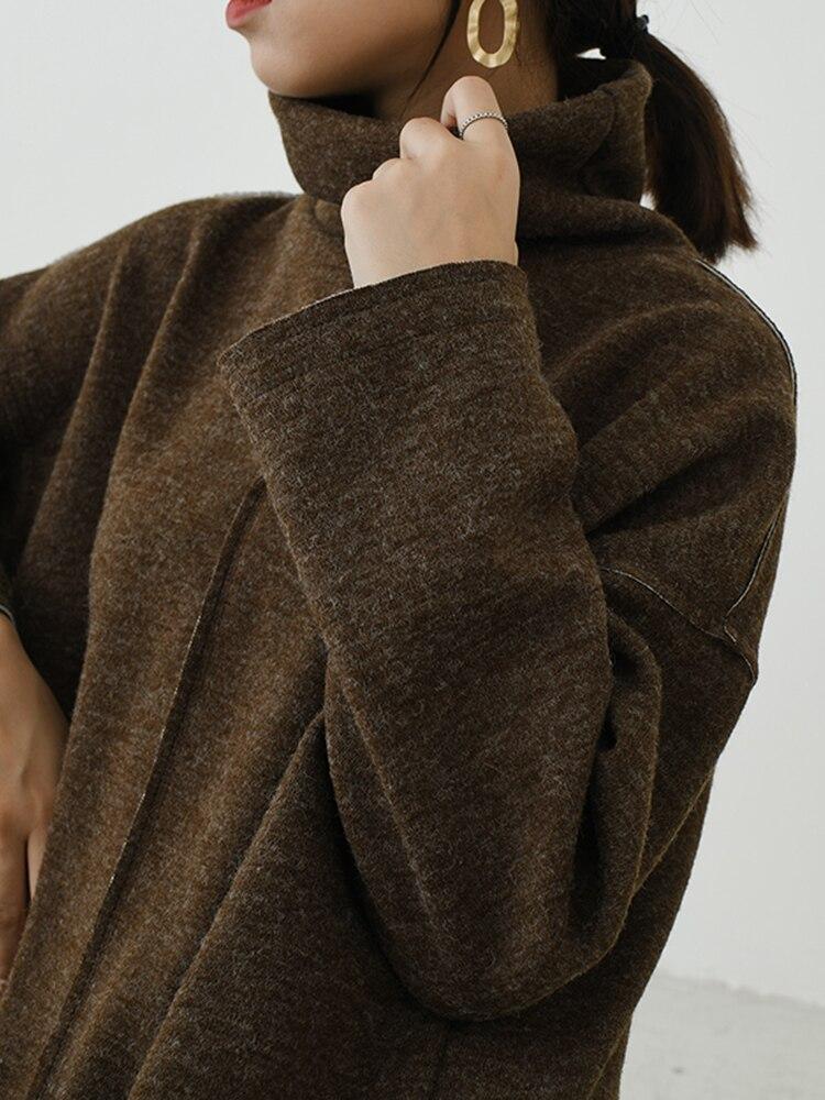 Allentato coffee dark Getsring Di Manica Femminile Termini Dalle Usura Basa Gray Tutti Che Inverno Vestito Dolcevita Abito Casual Delle Lunga Donne Black Nero Vestiti xffA1O