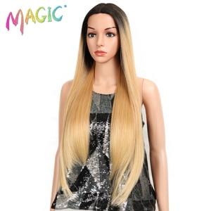 Image 2 - קסם שיער ארוך סינטטי חזית תחרת פאות עבור נשים שחורות 28 אינץ צהוב ישר פאה עבור נשים סיבי טמפרטורה גבוהה שיער