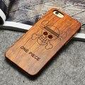 Ретро One Piece Настоящее Ручной Дерево Кейс Для Iphone 7 7 plus Резьба По Дереву Чехол + ПК, бесплатная доставка