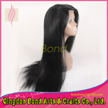 Straight brazilian hair full lace wig human hair lace front wigs with baby hair virgin brazilian hair for sale black color