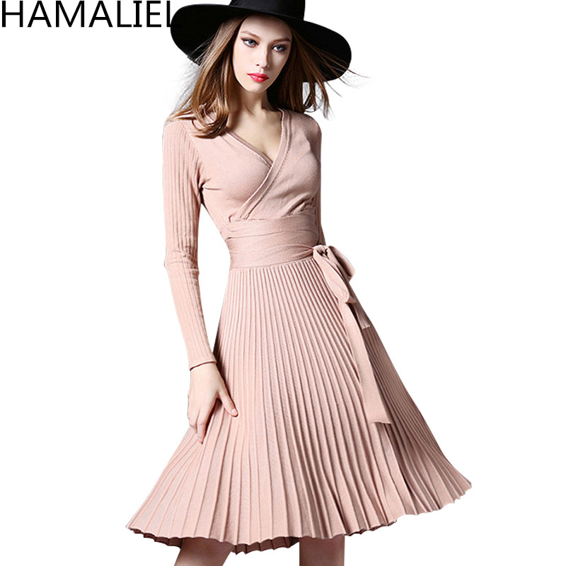 HAMALIEL New Fashion Women Knitting Pleated Party Dress 2018 Autumn Long Sleeve Bow Sexy V Neck Tunic Sweater Dress Vestidos