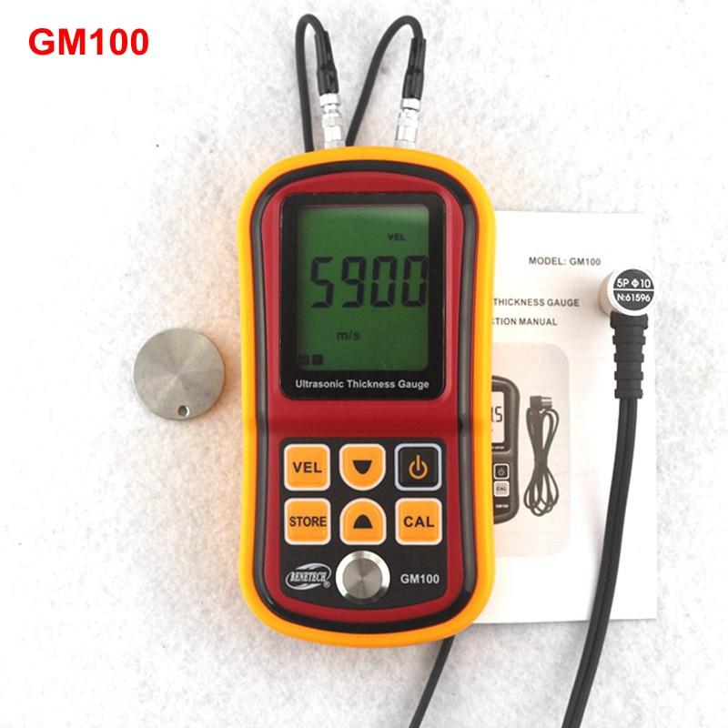 GM100 Ultrasonic Thickness Gauge Metal Plate Width Measuring Tools 1.2~220mm (Steel) Sound Velocity Tester gm130 ultrasonic thickness gauge 1 0 300mm metal width monitor tester digital ultrasonic gauge steel 0 01mm precision dual probe