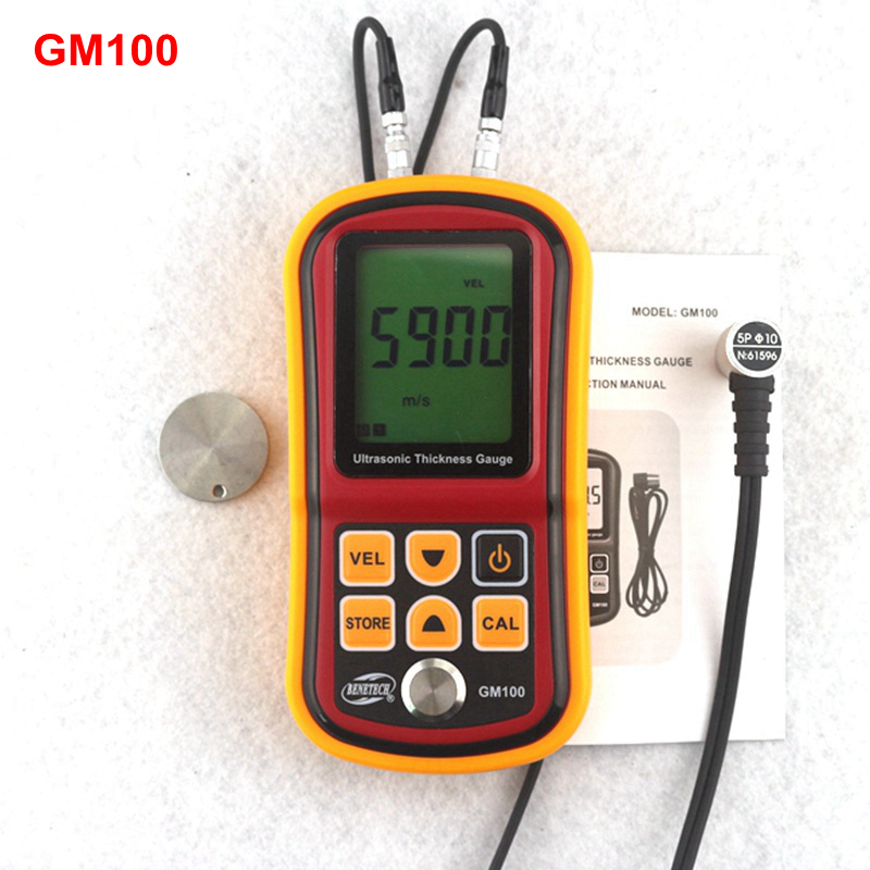 GM100 Ultrasonic Thickness Gauge Metal Plate Width Measuring Tools 1.2~220mm (Steel) Sound Velocity Tester